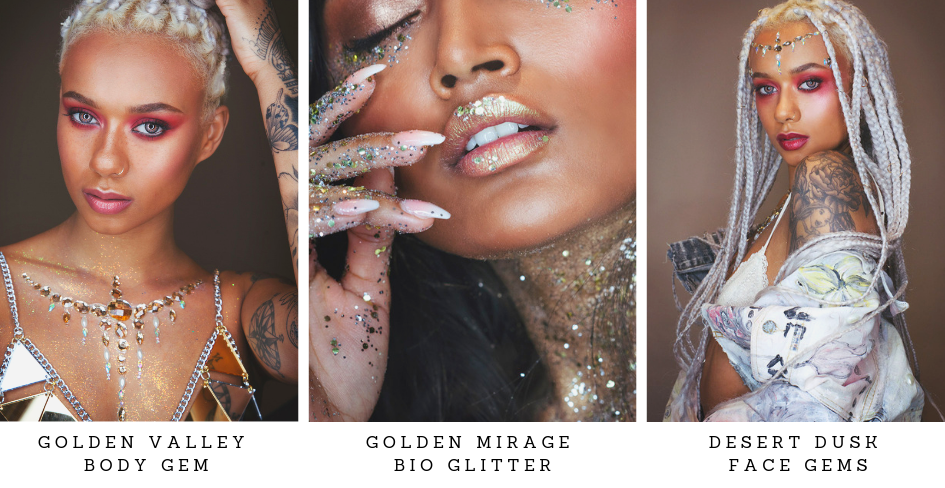 Coachella inspired Face Gems, Body Gems and Bio glitter
