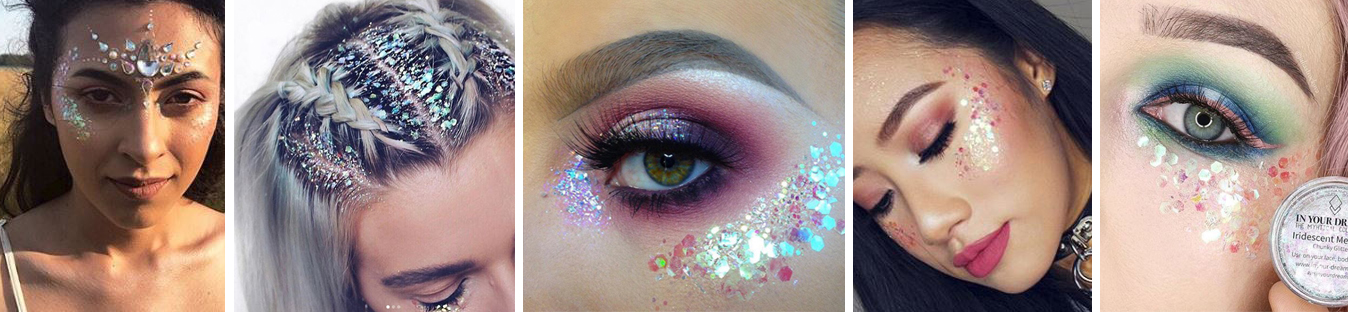 Iridescent Mermaid Festival Glitter Makeup